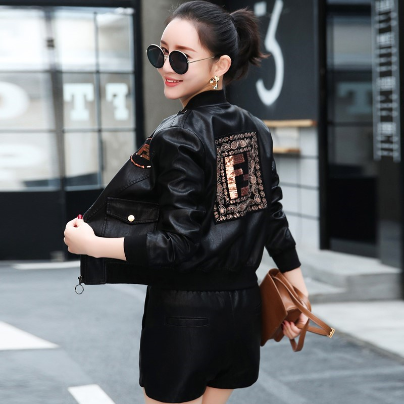 Painting art is shorter than leather clothes for women 2021 spring new baseball jacket leather jacket thin embroidered sequins