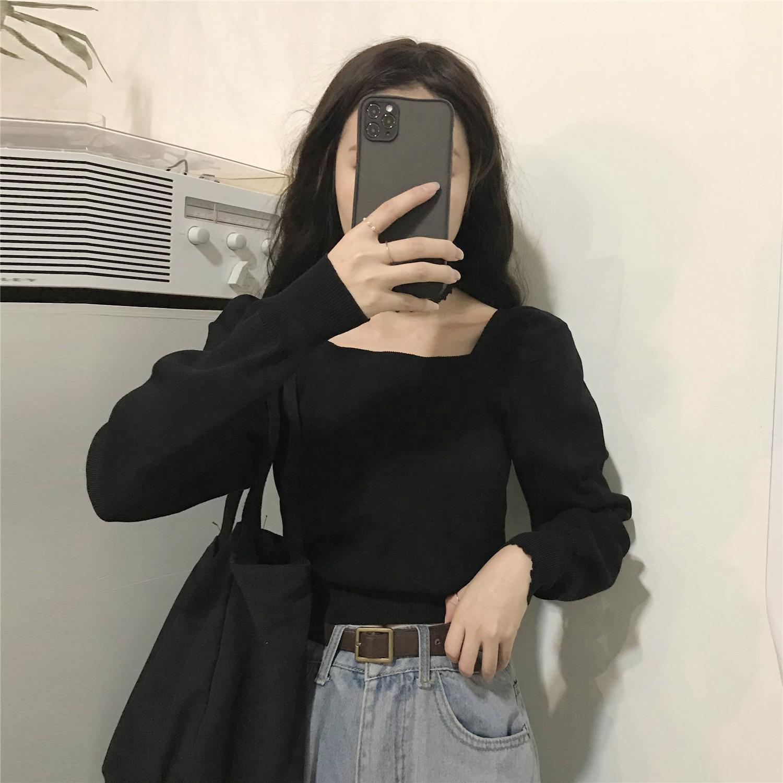 2021春秋新款泡泡袖针织衫女长袖方领上衣短款内搭打底衫毛衣外穿
