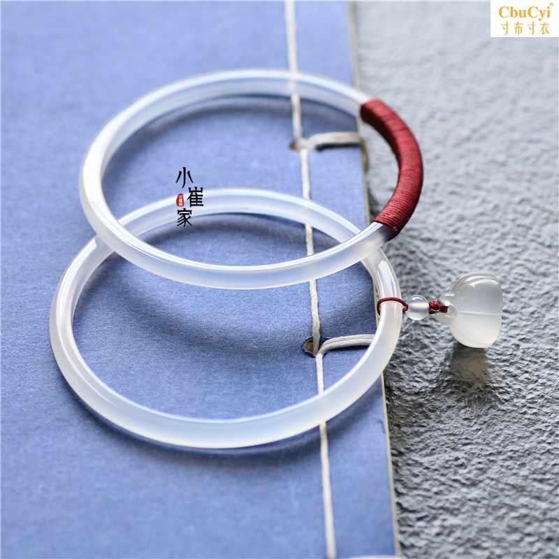 Simple style high ice lotus blossom bracelet natural chalcedony wound ice Bracelet 56 inner diameter Bracelet