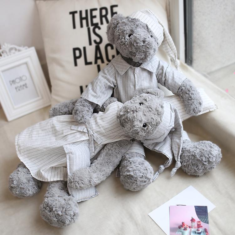 正版Dabron泰迪熊公仔睡衣情侣熊玩偶灰色泰迪熊毛绒玩具生日礼物