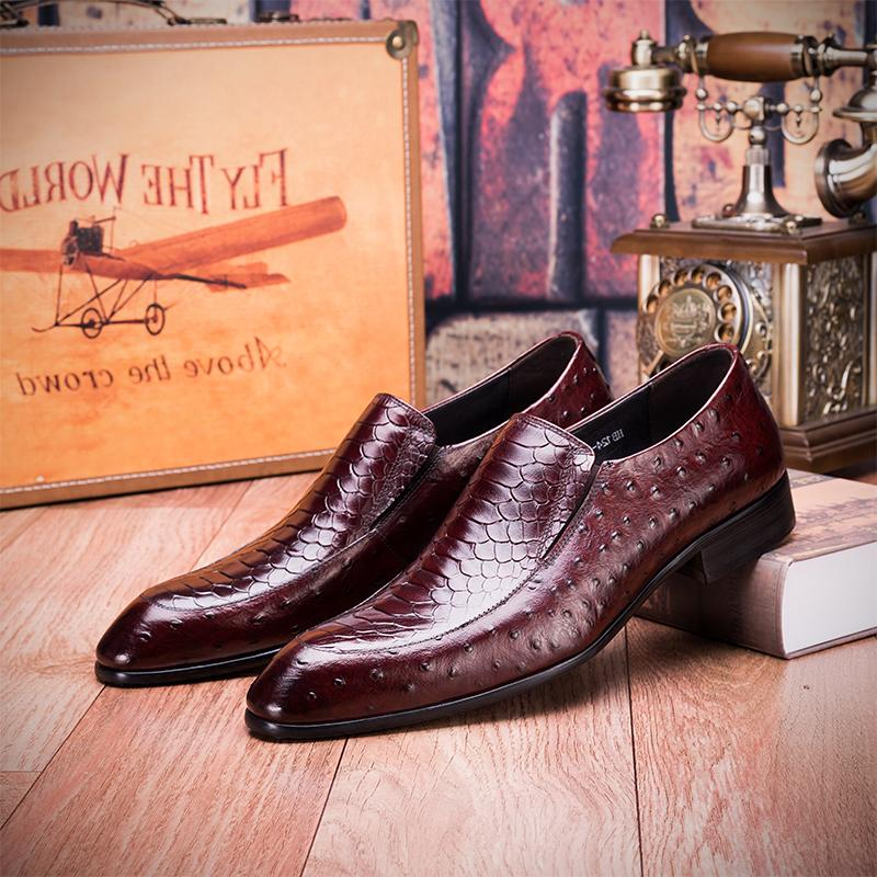 Luxury brand 2020 new Korean business mens leather shoes pointed toe set ostrich skin printed pattern low top without lace up