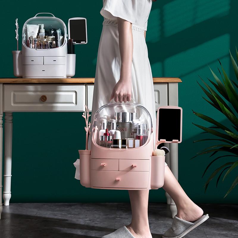 網紅化妝品收納盒家用口紅護膚品置物架桌面梳妝臺整理防塵化妝盒