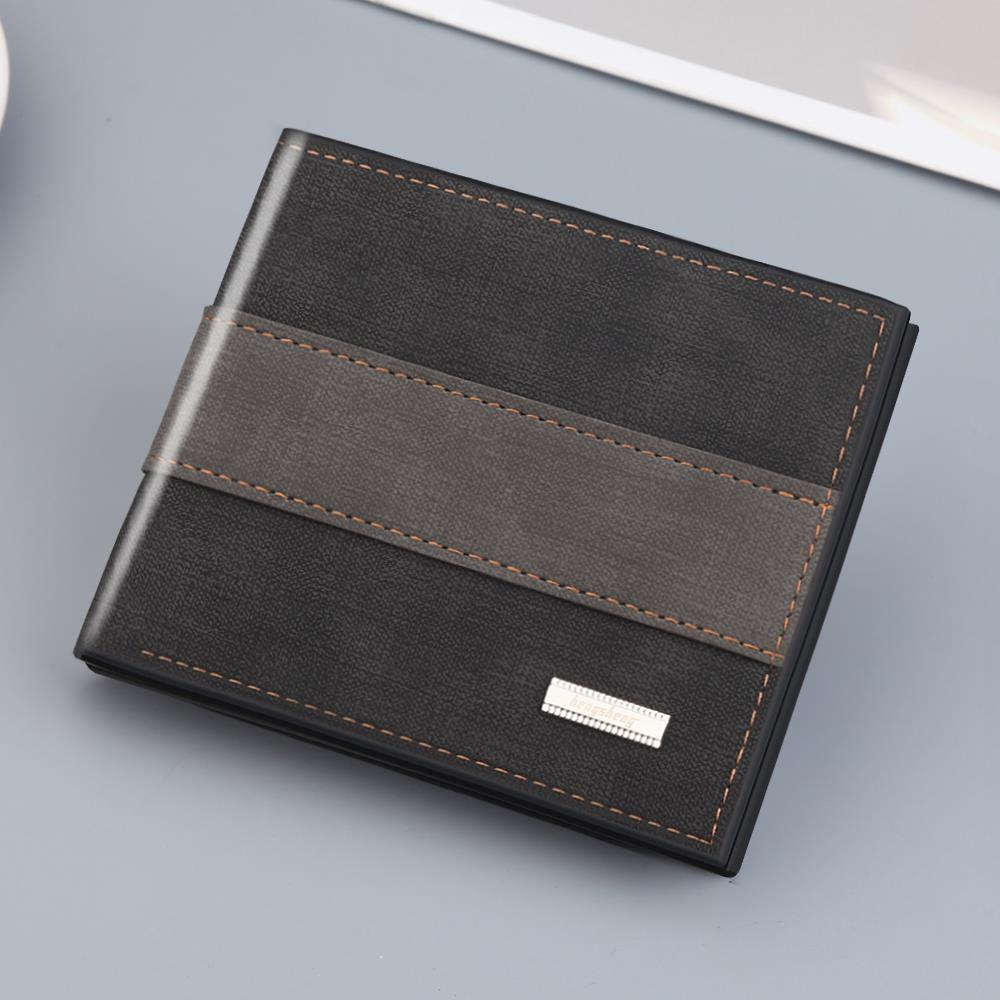男士钱包男短款潮可放驾驶证折叠皮夹男土三折叠多功能带拉链皮夹