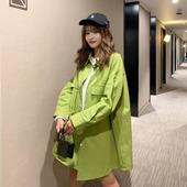 韩版 学生宽松bf复古港味长袖 衬衣 牛油果绿衬衫 女外套2019春秋新款