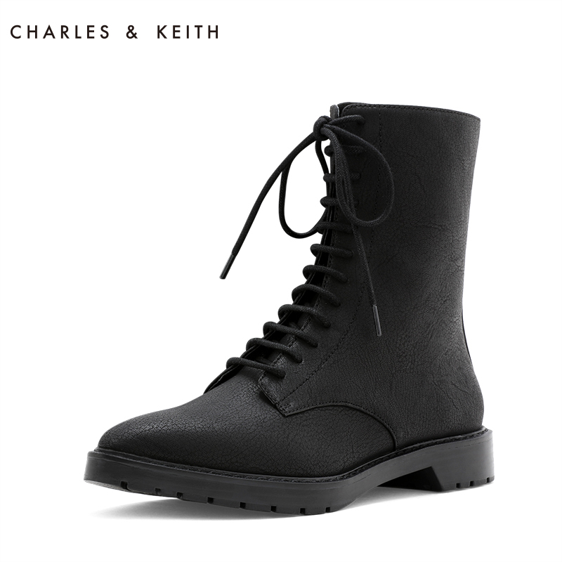 CHARLES & KEITH Martin Boots CK1-90900067 Hard Strap Mid-heel Boots