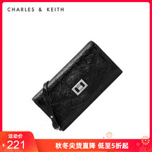 Charles & Keith autumn and winter women's bag ck6-10680799 metal buckle flip single shoulder bag wallet for women