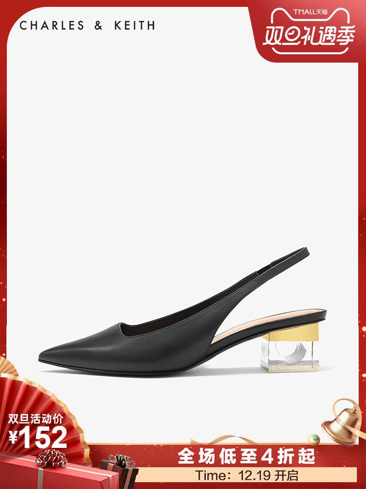 CHARLES&KEITH低帮鞋CK1-60920115璐彩特透明方跟女士中跟鞋凉鞋