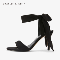 60360965女士一字带蝴蝶结绑带高跟鞋凉鞋CHARLES&KEITH单鞋CK1