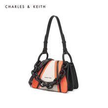 Charles & keith2020 spring new product ck2-50270420 thick chain decorated flip handle shoulder bag for women