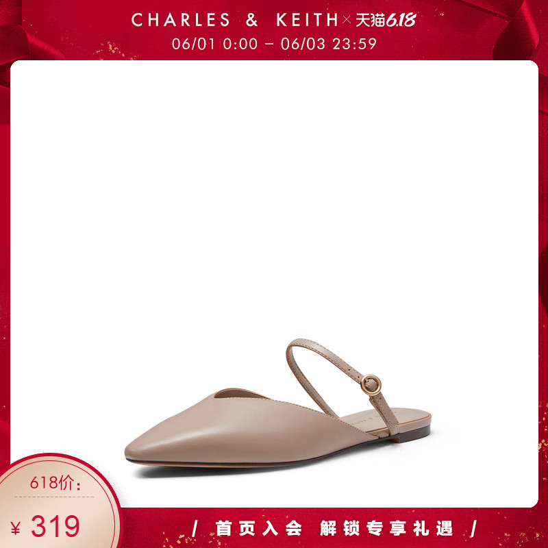 Charles & keith2020 spring new ck1-70900184 fashion v-mouth upper flat sole Mueller shoes women