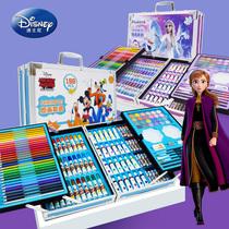迪士尼水彩笔套装儿童小学生铝合金带画架绘画套装礼盒冰雪2奥特曼画笔彩色笔画画笔幼儿园美术用品生日礼物