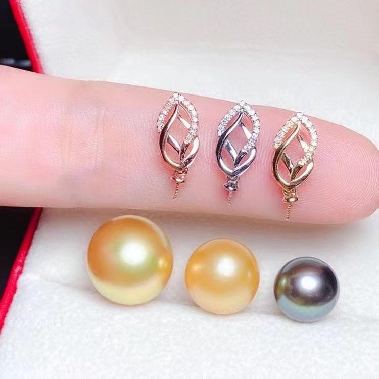珠宝首饰定制 配件18K白金黄金玫瑰金镶嵌钻石珍珠玉珠子吊坠扣头