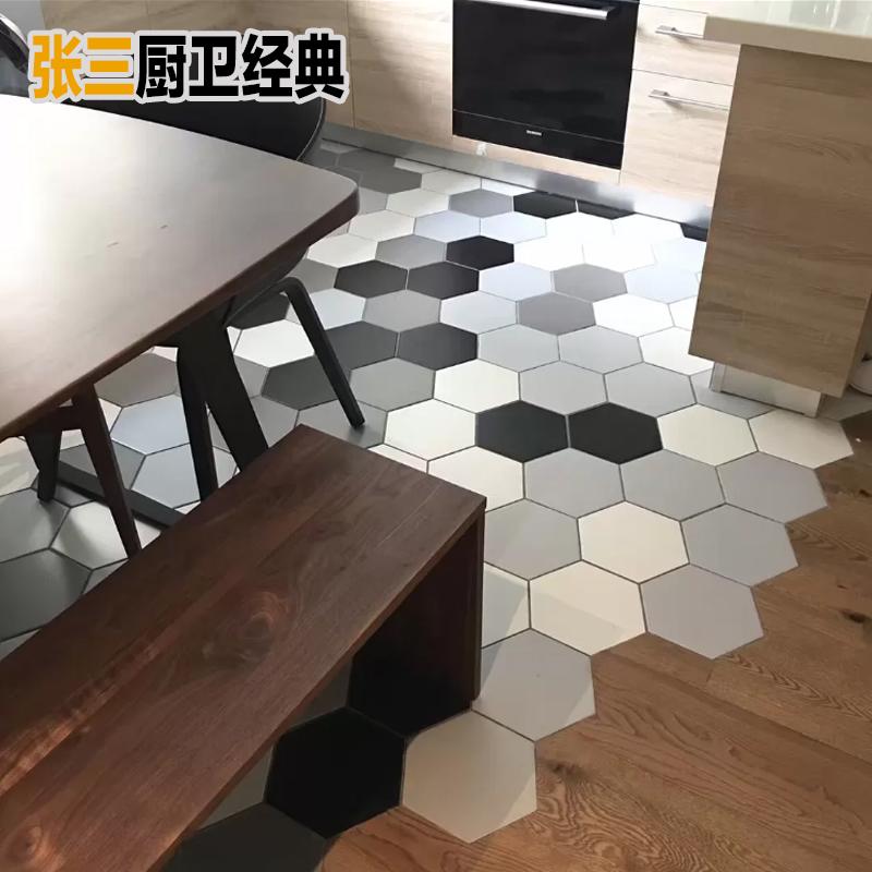 北欧纯色黑白灰六角砖哑光六边形瓷砖全瓷厨房卫生间地砖彩色墙砖