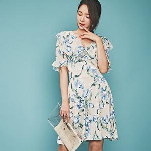 YF48418# 夏新款韩版时尚气质优雅显瘦花色连衣裙 服装批发女装直播货源