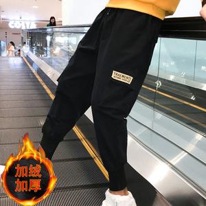 @爆版 現貨 2018新款寬松工裝束腳褲男潮流哈倫褲加絨加厚長褲