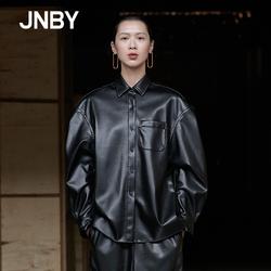 JNBY×SAMUEL商场同款2018冬新品帅气PU皮质衬衣外套女5I0101220