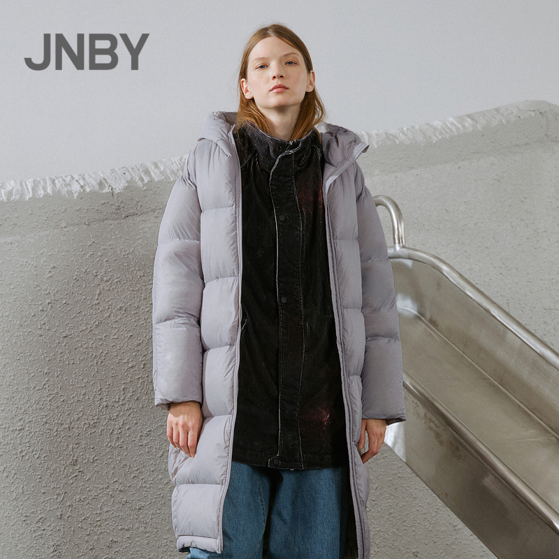 JNBY / Jiangnan cloth and down jacket 19 autumn and winter discount new product simple hooded straight tube medium long warm coat Z