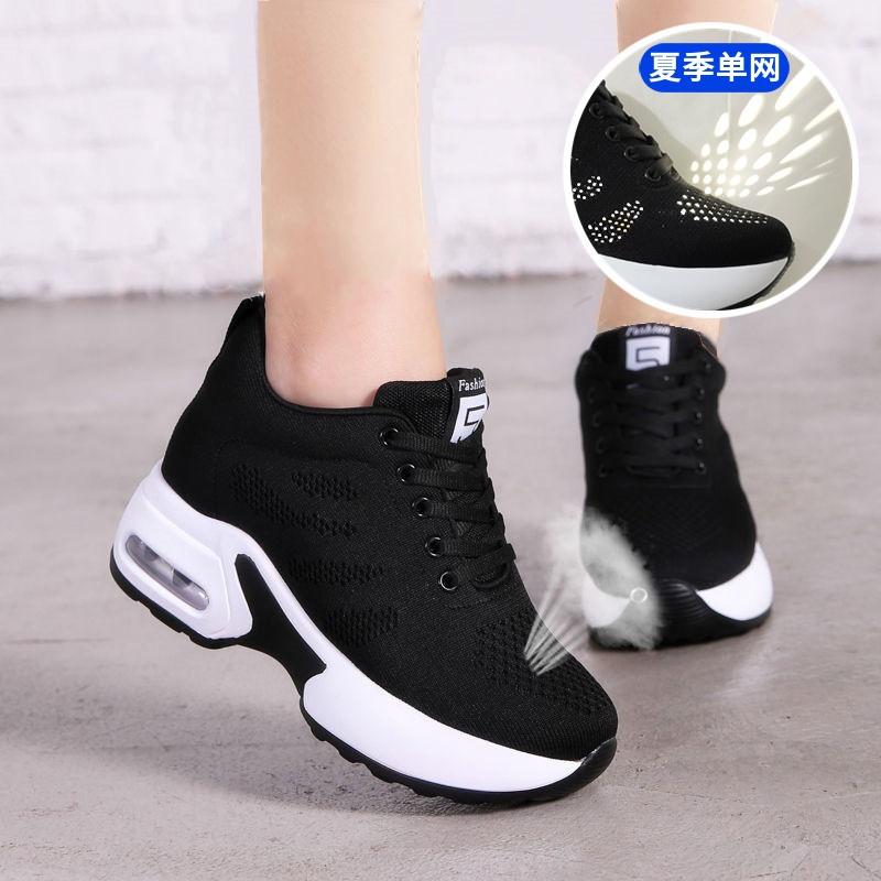2020春夏秋季新款内增高女鞋8cm网面透气运动鞋女士百搭软底黑色图片