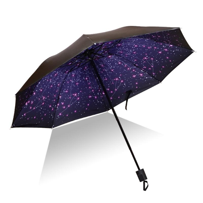 创意折叠晴雨伞女两用黑胶樱花伞