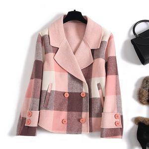 双面羊绒大衣女短款赫本风格子宽松纯羊毛毛呢秋冬新款小个子外套
