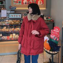 马西西微胖定制胖mm新年红色羽绒服女冬季大码保暖加厚大毛领外套