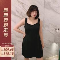 【西西宠粉 限时85折】 吊带背心裙女秋季胖mm收腰显瘦大码连衣裙