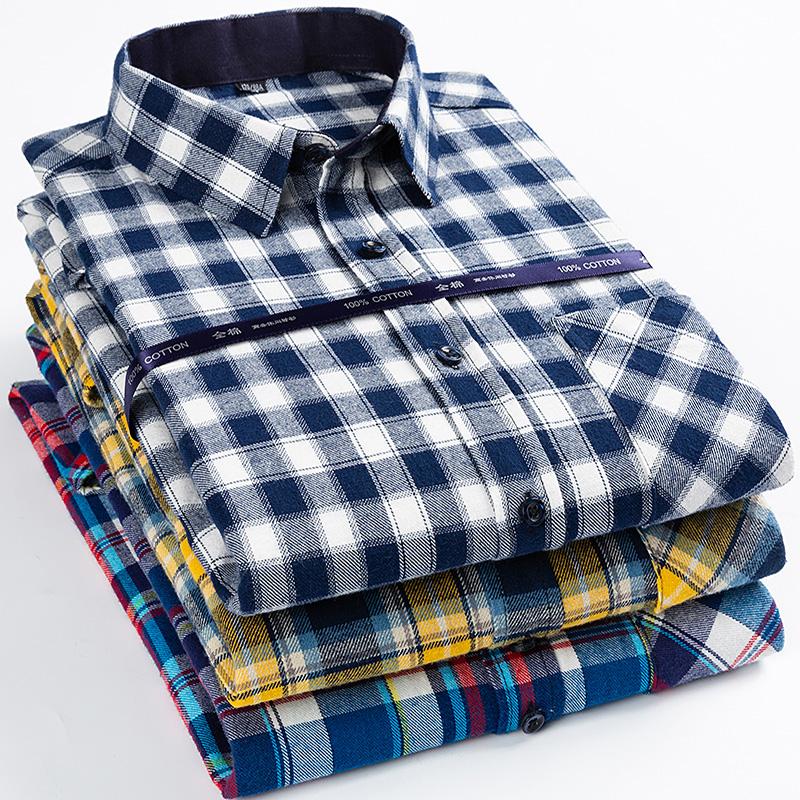 春秋纯棉长袖衬衫男中老年加大码宽松休闲全棉磨毛格子爸爸装衬衣