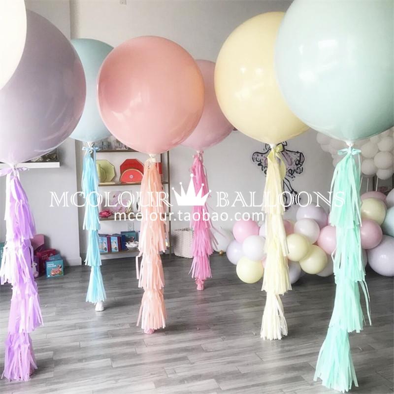 马卡龙粉色少女36寸气球生日男朋友礼物布置单身派对装饰周年纪念