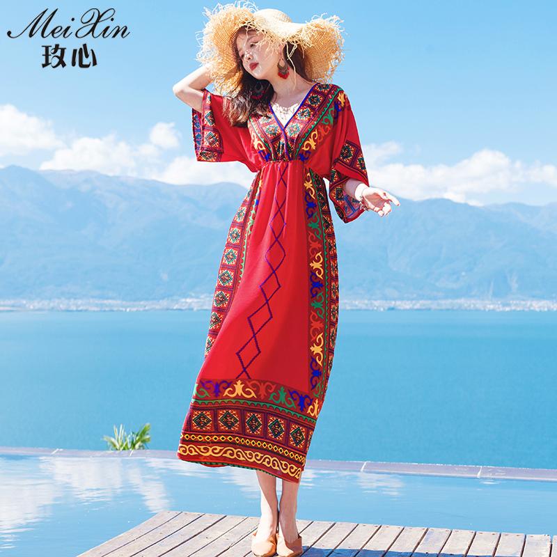 民族风连衣裙2018春新款女红色复古泰国服装长裙海边度假沙滩裙夏
