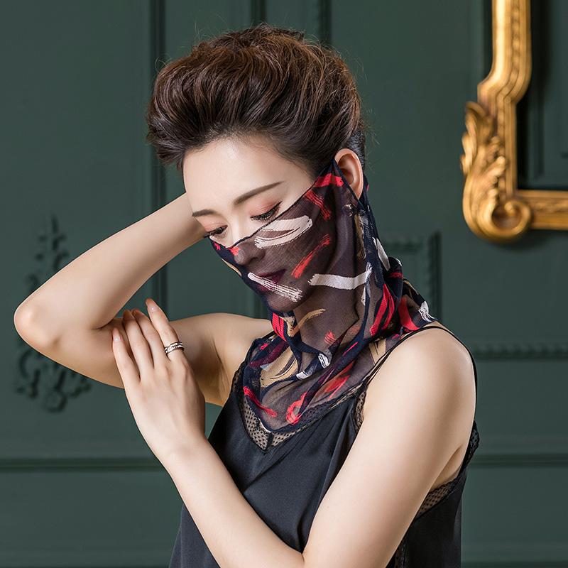 夏季薄款遮阳防晒真丝护颈围脖桑蚕丝面罩小丝巾网纱女士挂耳脖套