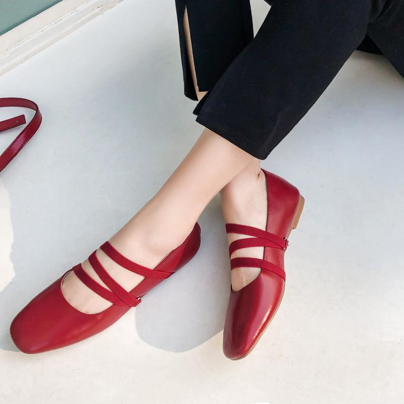High end Hepburn Mary Jane shoes flat sole leather soft sole single shoes ballet shoes cross strap French Retro