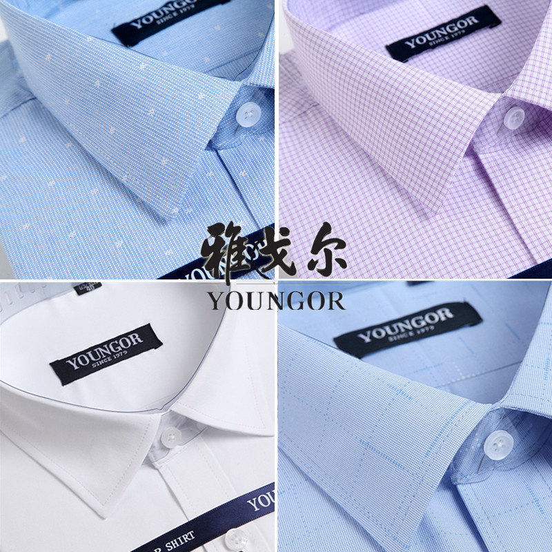 Brand special offer Youngor short sleeve shirt pure cotton white shirt DP easy to wear mens business professional dress stripe
