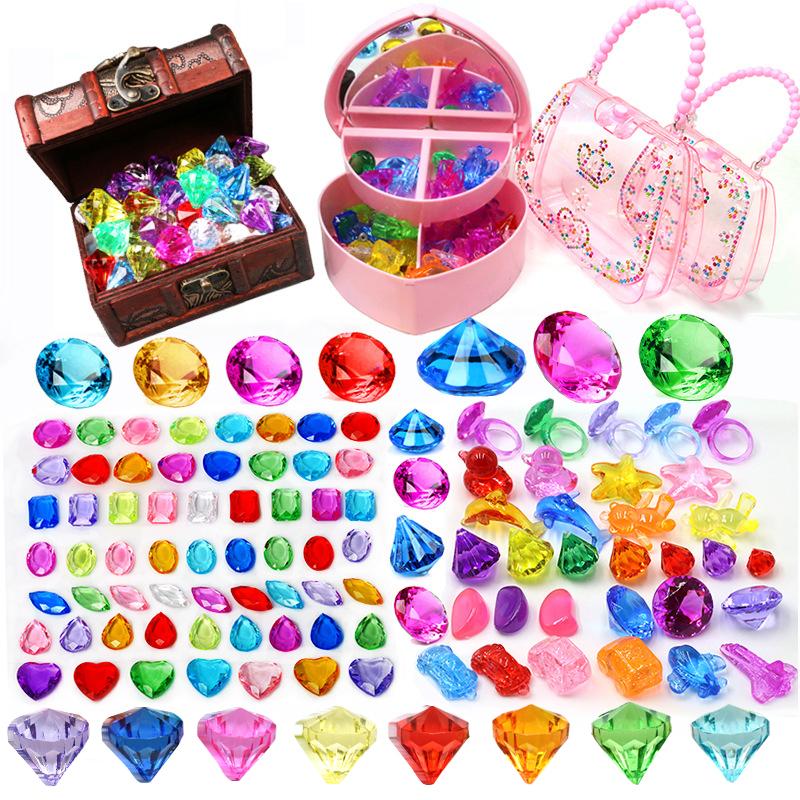 儿童宝石玩具钻石水晶七彩色亚克力塑料玩具宝石公主女孩宝箱盒子