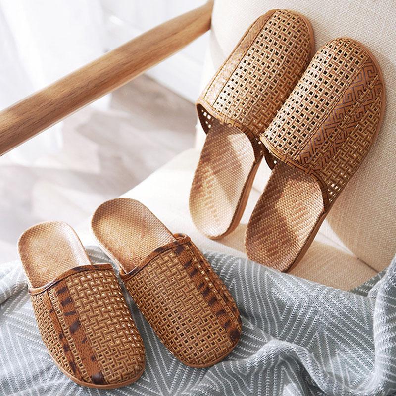夏季亚麻藤编拖鞋男女居家室内包头情侣家居木地板无声透气凉拖鞋
