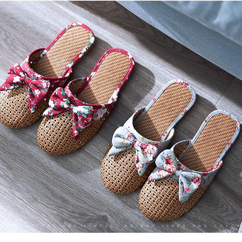 女士包头亚麻凉席藤编拖鞋夏季居家室内防滑家居木地板凉拖鞋韩版