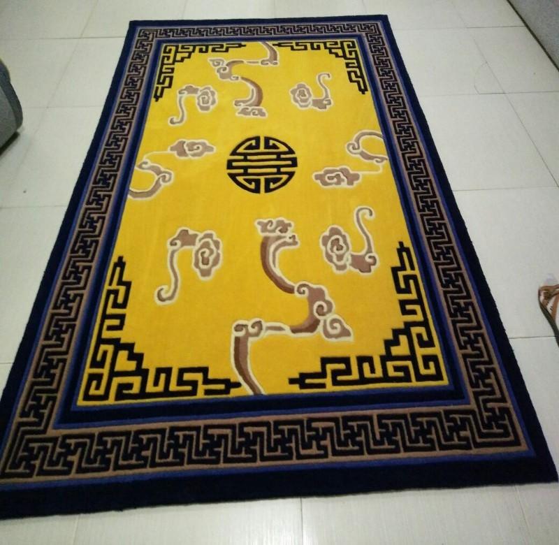 新品纯手工新中式宫廷风格客厅卧室床边满铺样板间混纺可定做地毯