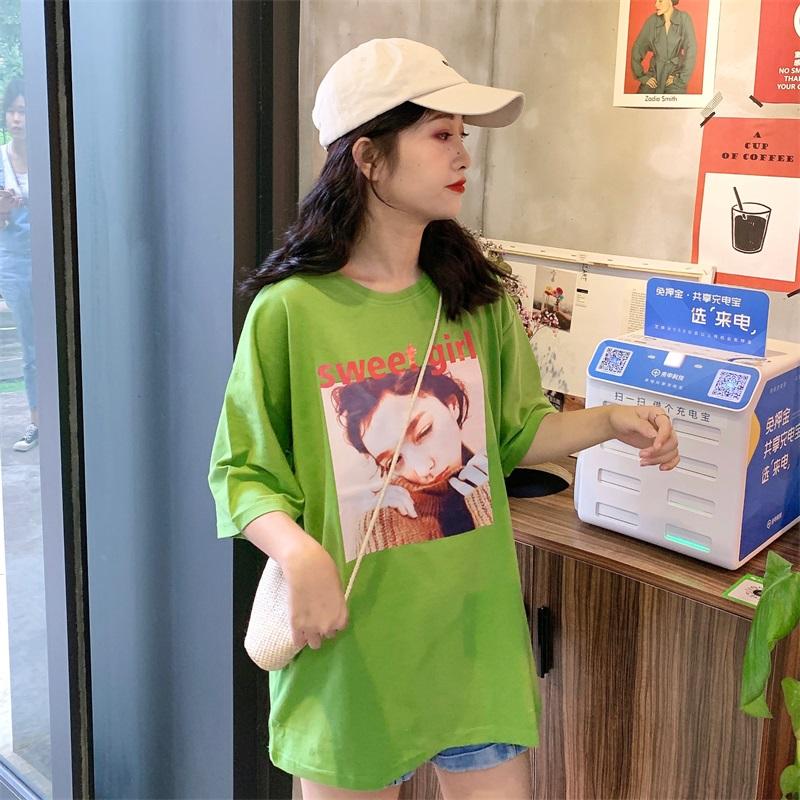 大码欧货大版t恤女下体失踪洋气韩版宽松牛油果绿中长款纯棉短袖券后19.90元