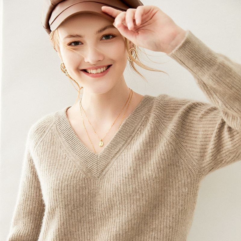 Autumn and winter new V-neck loose fitting sweater Pullover loose solid color straight knitting bottoming shirt short long sleeve top for women