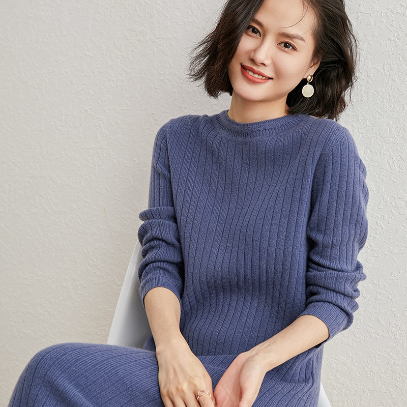 Fall / winter 20 round neck cashmere sweater womens vertical stripe Pullover loose large knitted wool long dress