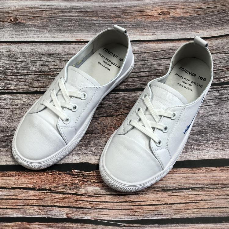 春季款IG女鞋断码清仓圆头平底鞋舒适休闲鞋小白鞋真皮百搭低帮鞋