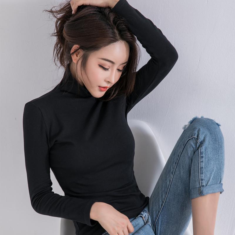打底衫女长袖T恤白色修身大码黑色纯棉百搭打底上衣