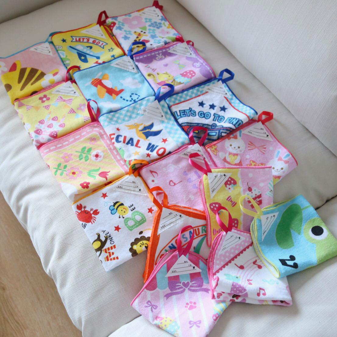 日本 西松屋 全棉毛巾 挂巾 洗脸毛巾幼儿园儿童擦手巾 手帕毛巾