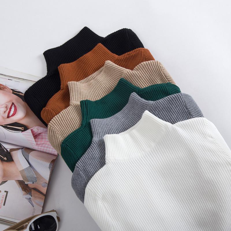秋冬装半高领套头修身显瘦弹力紧身打底衫女百搭长袖针织薄款毛衣