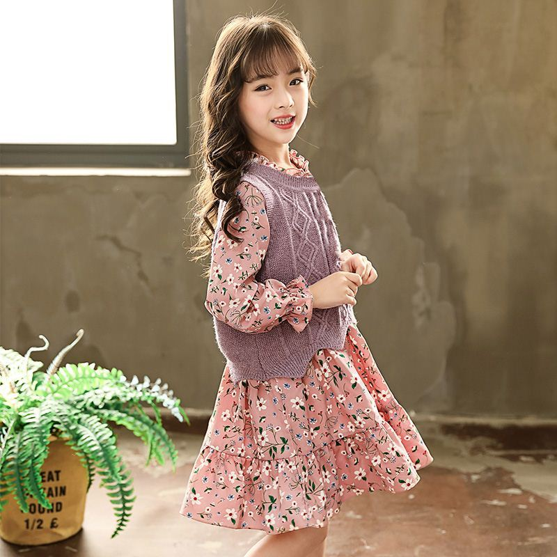 Girls floral dress spring and autumn 2021 new childrens lace bottomed Lolita Princess Dress Suit