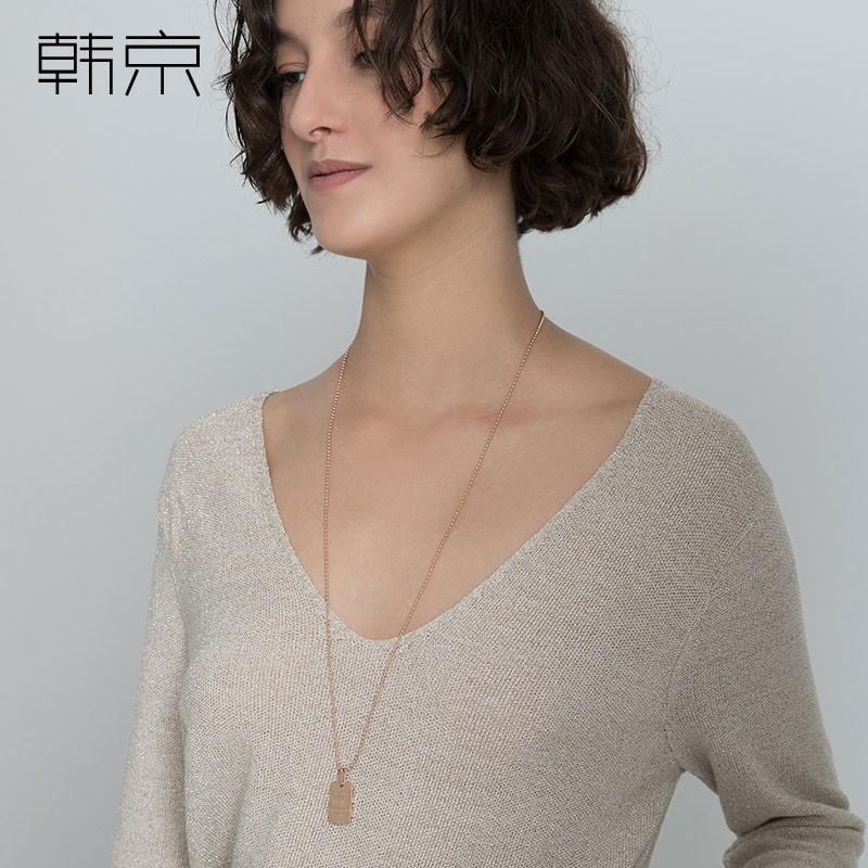珠链长款毛衣链配饰品玫瑰彩金长方形项链圆欧美流行款钛钢镀