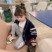 爱上靓妞女童针织开衫2021新款春装宝宝学院风毛衣外套儿童亲子装