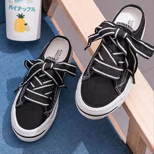 淑女范学院风半跟女鞋帆布女鞋春秋季舒适休闲板鞋系带款黑白色