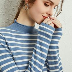 秋冬新款羊绒衫女半高领套头毛衣条纹显瘦韩版羊毛修身打底针织衫