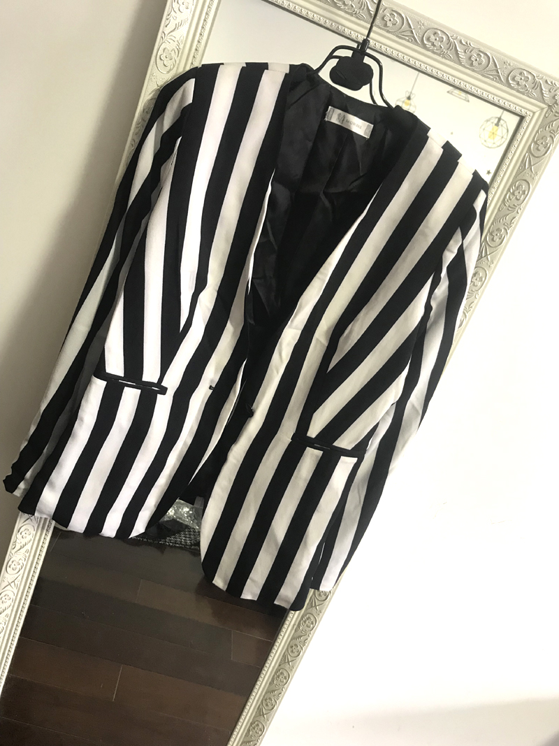 Special price clearance 2020 spring and summer womens mid long Korean vertical stripe thin V-neck suit jacket cardigan
