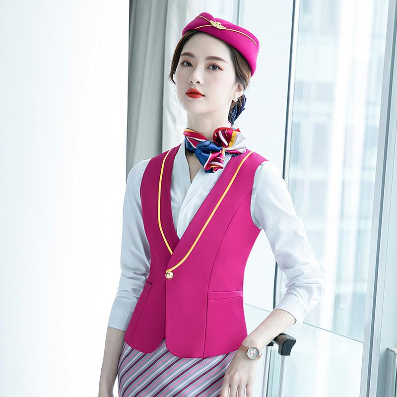 南航空姐制服职业套装女装马甲套裙艺考服装酒店前台导诊服工作服